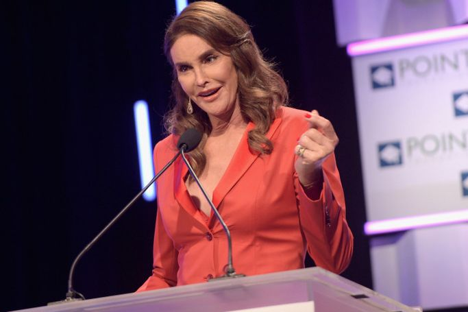 LOS ANGELES, CA - OCTOBER 03: TV personality and activist Caitlyn Jenner speaks onstage during the Point Foundation's Annual Voices On Point Gala at the Hyatt Regency Century Plaza on October 3, 2015 in Los Angeles, California. (Photo by Jason Kempin/Getty Images for The Point Foundation)