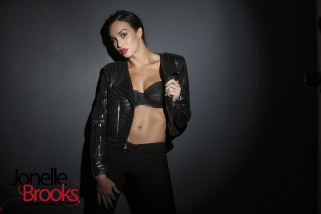 Jonelle Brooks XXXBios - TS Jonelle Brooks in sexy black bra, pants and leather jacket - Hot tgirl Jonelle Brooks porn pics